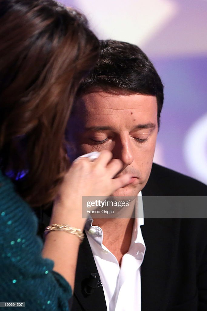 <a gi-track='captionPersonalityLinkClicked' href=/galleries/search?phrase=Matteo+Renzi&family=editorial&specificpeople=6689301 ng-click='$event.stopPropagation()'>Matteo Renzi</a>, mayor of Florence and Democratic Party (PD) member, at the make-up during 'Otto e Mezzo' Italian TV Show at La7 studios on February 4, 2013 in Rome, Italy. The 2012 Italian centre-left primary election determined the leader of the coalition. Common Good, who will stand as common candidate for the office of Prime Minister in the subsequent general election, which will be held on February 24, 2013. It was won with 61% of the votes by Pier Luigi Bersani, who defeated the 37-years old mayor of Florence <a gi-track='captionPersonalityLinkClicked' href=/galleries/search?phrase=Matteo+Renzi&family=editorial&specificpeople=6689301 ng-click='$event.stopPropagation()'>Matteo Renzi</a> in the run-off.