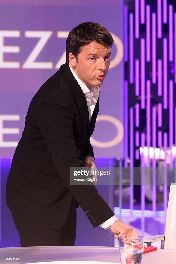 <a gi-track='captionPersonalityLinkClicked' href=/galleries/search?phrase=Matteo+Renzi&family=editorial&specificpeople=6689301 ng-click='$event.stopPropagation()'>Matteo Renzi</a>, mayor of Florence and Democratic Party (PD) member, attends 'Otto e Mezzo' Italian TV Show at La7 studios on February 4, 2013 in Rome, Italy. The 2012 Italian centre-left primary election determined the leader of the coalition. Common Good, who will stand as common candidate for the office of Prime Minister in the subsequent general election, which will be held on February 24, 2013. It was won with 61% of the votes by Pier Luigi Bersani, who defeated the 37-years old mayor of Florence <a gi-track='captionPersonalityLinkClicked' href=/galleries/search?phrase=Matteo+Renzi&family=editorial&specificpeople=6689301 ng-click='$event.stopPropagation()'>Matteo Renzi</a> in the run-off.