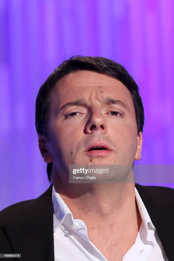 <a gi-track='captionPersonalityLinkClicked' href=/galleries/search?phrase=Matteo+Renzi&family=editorial&specificpeople=6689301 ng-click='$event.stopPropagation()'>Matteo Renzi</a>, Mayor of Florence and member of the Democratic Party (PD) attends 'Otto e Mezzo' Italian TV Show at La7 studios on February 4, 2013 in Rome, Italy. The 2012 Italian centre-left primary election determined the leader of the coalition Italy. Common Good, who will stand as common candidate for the office of Prime Minister in the subsequent general election, which will be held on February 24, 2013. It was won with 61% of the votes by Pier Luigi Bersani, who defeated the 37-years old mayor of Florence <a gi-track='captionPersonalityLinkClicked' href=/galleries/search?phrase=Matteo+Renzi&family=editorial&specificpeople=6689301 ng-click='$event.stopPropagation()'>Matteo Renzi</a> in the run-off.