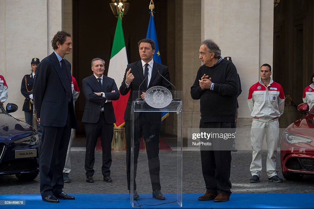 Matteo Renzi receives John Elkann and Sergio Marchionne, president and CEO of FCA group, for presentation of new Alfa Romeo Giulia at the Palazzo Chigi in Rome, Italy on may 5, 2016.