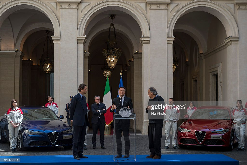 <a gi-track='captionPersonalityLinkClicked' href=/galleries/search?phrase=Matteo+Renzi&family=editorial&specificpeople=6689301 ng-click='$event.stopPropagation()'>Matteo Renzi</a> receives <a gi-track='captionPersonalityLinkClicked' href=/galleries/search?phrase=John+Elkann&family=editorial&specificpeople=571803 ng-click='$event.stopPropagation()'>John Elkann</a> and <a gi-track='captionPersonalityLinkClicked' href=/galleries/search?phrase=Sergio+Marchionne&family=editorial&specificpeople=608333 ng-click='$event.stopPropagation()'>Sergio Marchionne</a>, president and CEO of FCA group, for presentation of new Alfa Romeo Giulia at the Palazzo Chigi in Rome, Italy on may 5, 2016.