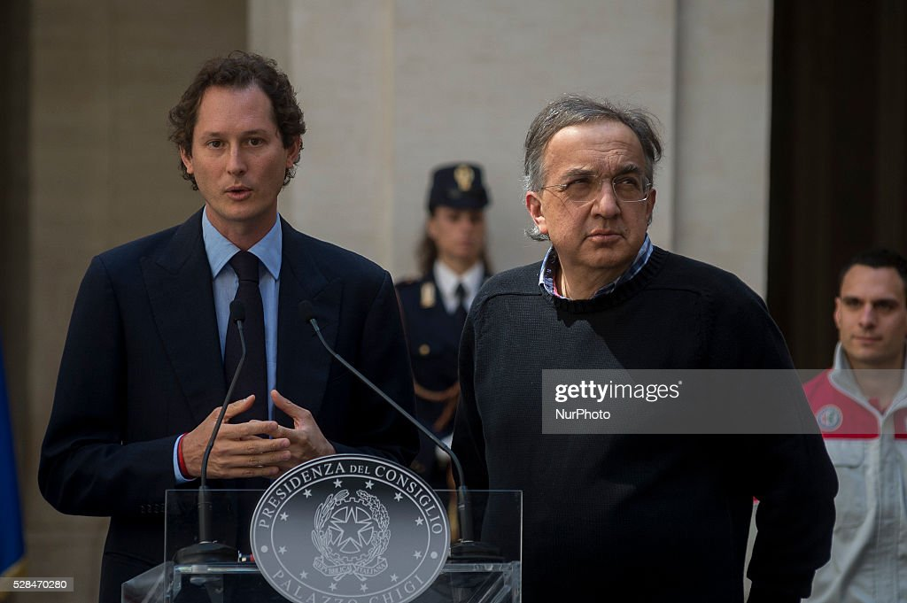 Matteo Renzi receives <a gi-track='captionPersonalityLinkClicked' href=/galleries/search?phrase=John+Elkann&family=editorial&specificpeople=571803 ng-click='$event.stopPropagation()'>John Elkann</a> and <a gi-track='captionPersonalityLinkClicked' href=/galleries/search?phrase=Sergio+Marchionne&family=editorial&specificpeople=608333 ng-click='$event.stopPropagation()'>Sergio Marchionne</a>, president and CEO of FCA group, for presentation of new Alfa Romeo Giulia at the Palazzo Chigi in Rome, Italy on may 5, 2016.