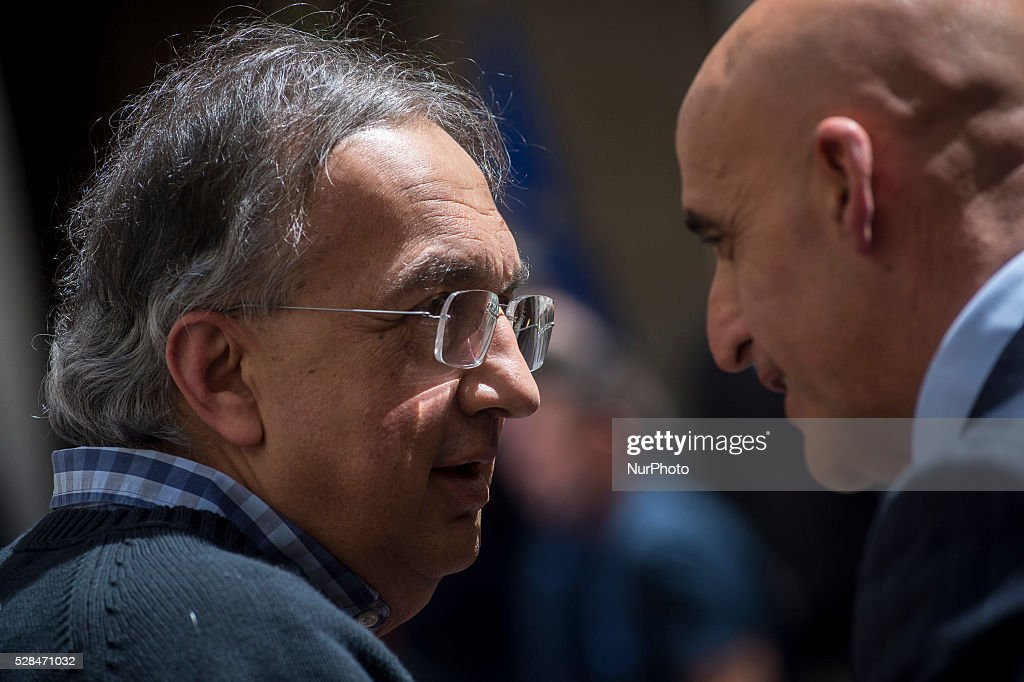 Matteo Renzi receives John Elkann and <a gi-track='captionPersonalityLinkClicked' href=/galleries/search?phrase=Sergio+Marchionne&family=editorial&specificpeople=608333 ng-click='$event.stopPropagation()'>Sergio Marchionne</a>, president and CEO of FCA group, for presentation of new Alfa Romeo Giulia at the Palazzo Chigi in Rome, Italy on may 5, 2016.
