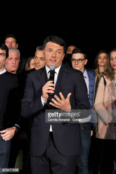 Matteo Renzi speaks after winning the Primary Election of the Democratic Party on April 30 2017 in Rome Italy Renzi who resigned as the party's...