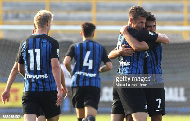 Matteo Rover of FC Internazionale celebrates his goal with his teammate Andrea Pinamonti during the UEFA Youth League Domestic Champions Path match...