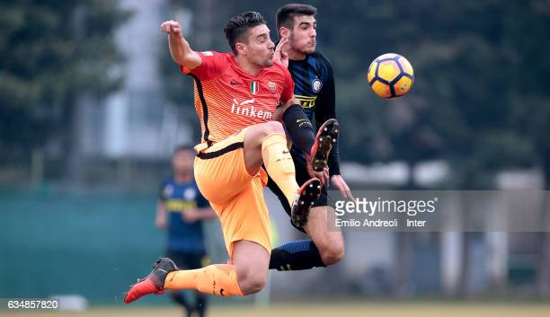 Matteo Rover of FC Internazionale Milano jumps for the ball with Riccardo Marchizza of As Roma during the Primavera Tim juvenile match between FC...