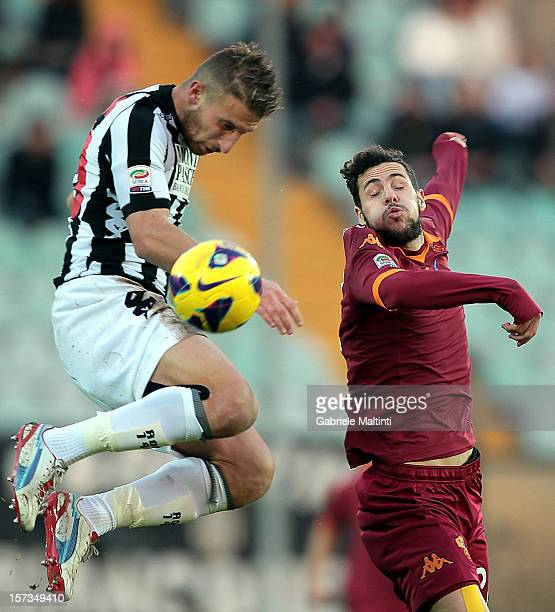 Matteo Rubin of AC Siena fights for the ball with Mattia Destro of AS Roma during the Serie A match between AC Siena and AS Roma at Stadio Artemio...