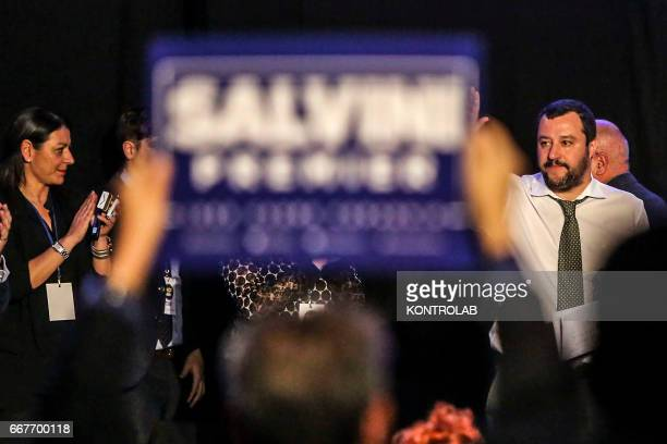 Matteo Salvini and his supporters during his election rally at the Mostra D'Oltremare in Naples The hall was packed with supporters of the Lega Nord...