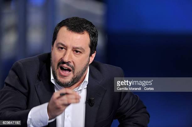 Matteo Salvini attends 'Porta A Porta' TV Show on November 16 2016 in Rome Italy