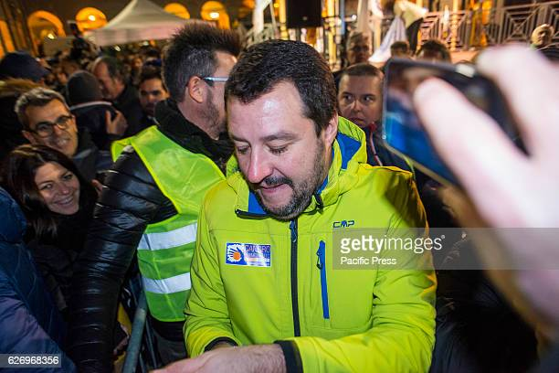 Matteo Salvini during the 'Io Voto NO' Tour of MEP and deputy federal secretary of the Northern League