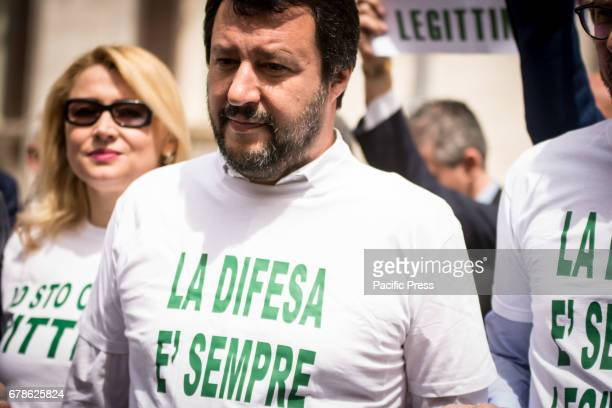 Matteo Salvini during the sitin at Piazza Montecitorio parliamentary of the Lega Nord against the law selfdefense