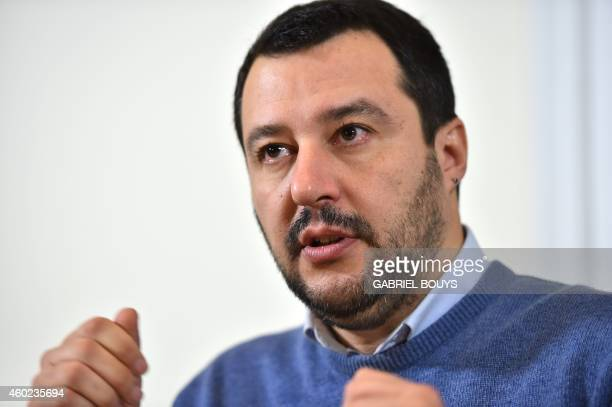 Matteo Salvini federal secretary of the Italian farright party Lega Nord gives a press conference on December 10 2014 in Rome AFP PHOTO / GABRIEL...