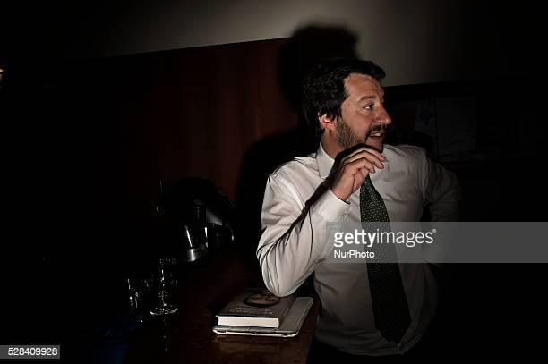 Matteo Salvini Italian politician after the presentation of his book quotSecondo Matteoquot at the foreign press in Rome Italy on May 4 2016