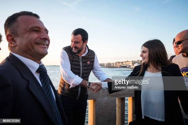 Matteo Salvini leader Lega Nord political party greets Flavia Anelli before the closing act of the electoral campaign for presidency of Ostia's city...