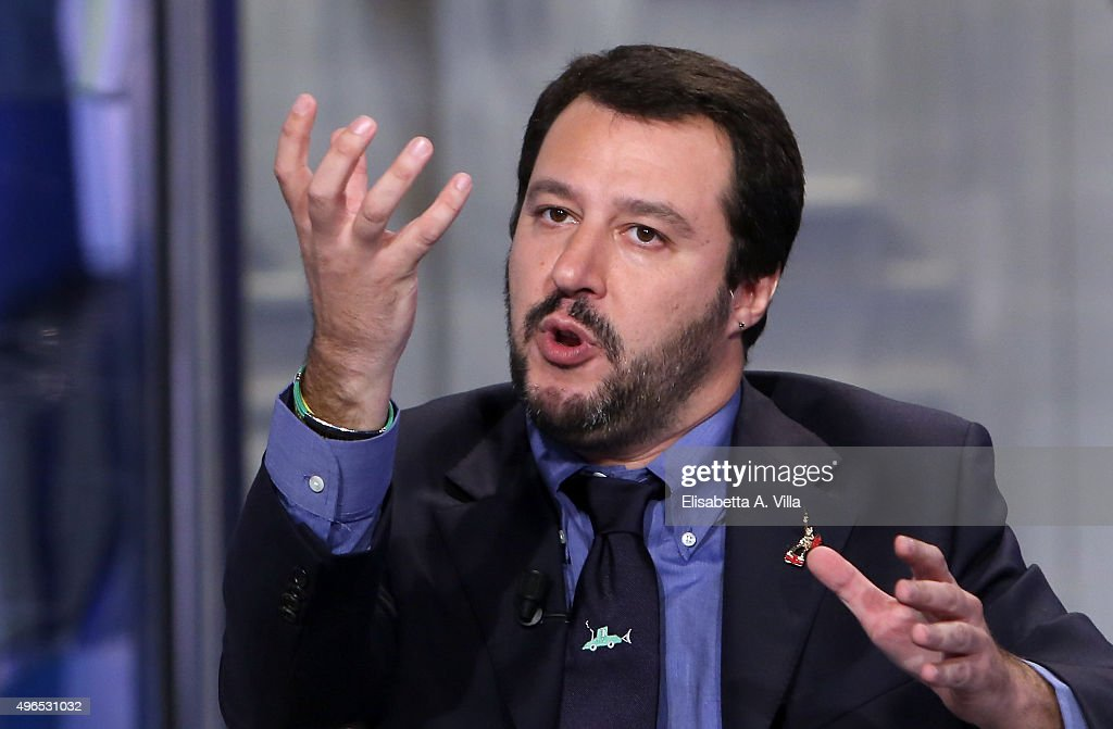 Matteo Salvini leader of Italian Northern League attends 'Porta A Porta' TV Show at RAI Studios on November 10 2015 in Rome Italy The 42yearold...