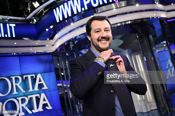 Matteo Salvini leader of Italian Northern League attends 'Porta A Porta' TV Show at RAI Studios on November 10 2015 in Rome Italy The 42yearold...
