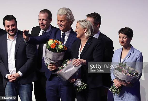 Matteo Salvini leader of the Italian Lega Nord Harald Vilimsky General Secretary of the Austria Freedom Party Geert Wilders leader of the Dutch PVV...