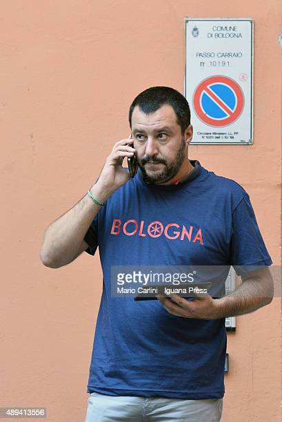 Matteo Salvini leader of the Lega Nord italian political party attends a demonstration on September 17 2015 in Bologna Italy