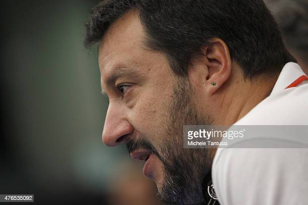 Matteo Salvini leader of the 'Lega Nord' party and member of the European Parliament listens during a press conference on June 10 2015 in Strasbourg...