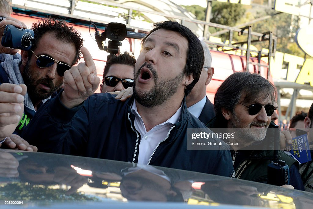 <a gi-track='captionPersonalityLinkClicked' href=/galleries/search?phrase=Matteo+Salvini&family=editorial&specificpeople=2325195 ng-click='$event.stopPropagation()'>Matteo Salvini</a>, leader of the Northern League party reacts as he is met by protestors during a visit to Montagnola market in the southern district of the city on May 4, 2016 in Rome, Italy. Salvini, known for his opposition to illegal immigration and the European Union, abandoned his visit in the face of anti-racist protests.