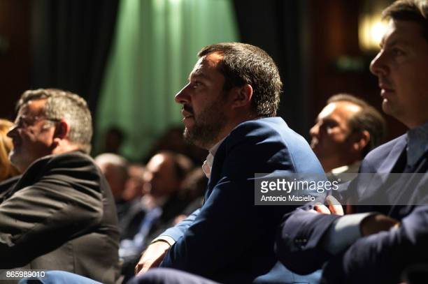 Matteo Salvini Lega Nord leader takes part at the book presentation of Sergio Pirozzi Mayor of Amatrice on October 24 2017 in Rome Italy