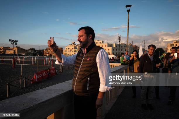 Matteo Salvini Lega Nord political party walks on the seafront before the closing act of the electoral campaign for presidency of Ostia's city hall...