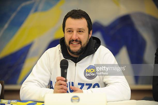 Matteo Salvini member of Italian Parliament and head of Lega Nord in Lanciano Italy on March 23 2016 for election campaign in Abruzzo
