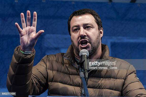 Matteo Salvini secretary of the Northern League during the demostration ' Italian sovereign in the square ' organized by Brothers of Italy National...