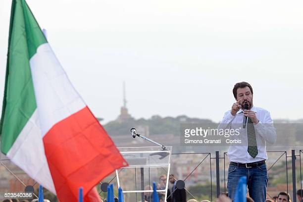 Matteo Salvini speaks as Giorgia Meloni launches her election campaign on the Pincio terrace on April 21 2016 in Rome Italy