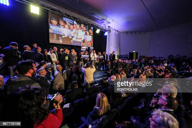 Matteo Salvini supporters during his election rally at the Mostra D'Oltremare in Naples The hall was packed with supporters of the Lega Nord Party...