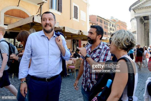 Matteo Salvini with The Parent Associations in Pantheon Place protest against compulsory vaccination law on July 19 2017 in Rome Italy