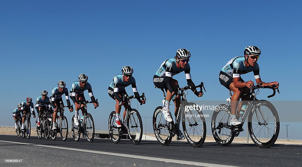 Matteo Trentin of Italy leads his Omega Pharma- Quick Step team on stage two of the 2013 Tour of Qatar, a 14km Team Time Trial, along Al Rufaa Street on February 4, 2013 in Doha, Qatar.