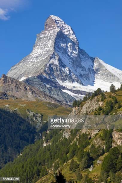 Matterhorn a classic view with clouds, taken from Zermatt, Switzerland.