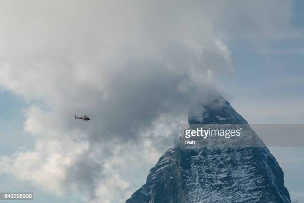 Matterhorn and helicopter, Zermatt, Valais Canton, Switzerland