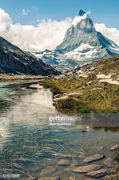 Matterhorn and Riffelsee lake