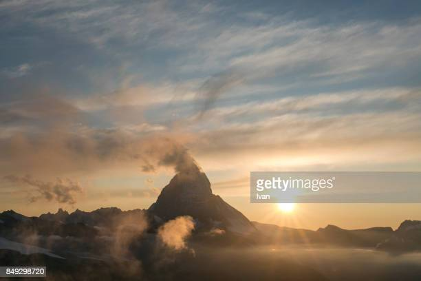 Matterhorn in the stratosphere cloud at sunset