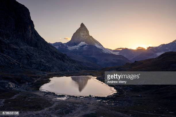Matterhorn reflected in Lake Riffelsee at Sunset, above Zermatt, Switzerland