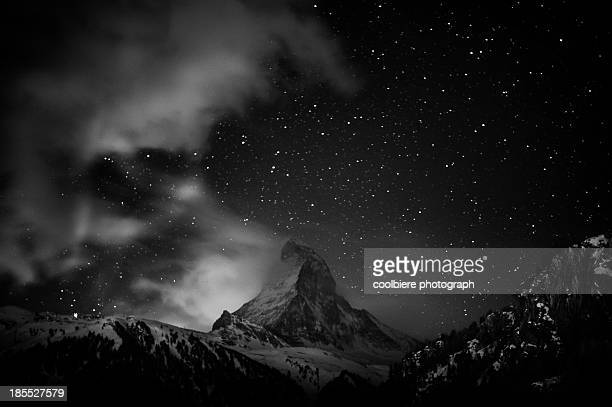 Matterhorn with stars in black and white