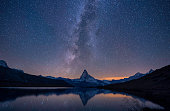 Matterhorn, milky way and a reflection at night, Switzerland