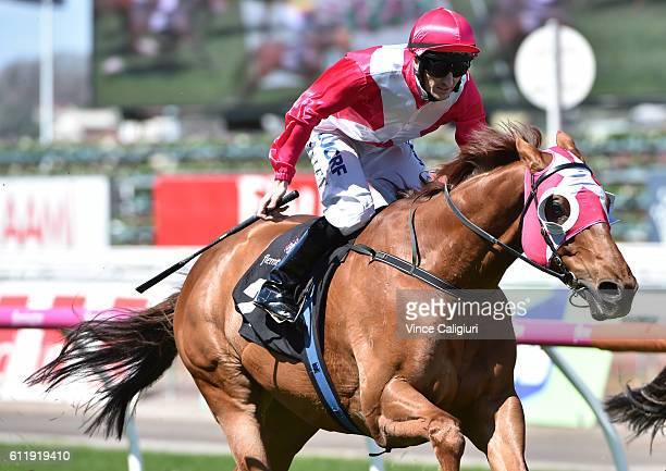 Matthew Allen riding The Quarterback wins Race 4 Gilgai Stakes during Melbourne Racing at Flemington Racecourse on October 2 2016 in Melbourne...