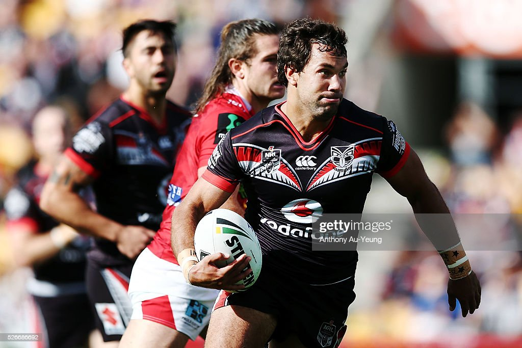 Matthew Allwood of the Warriors makes a run during the round nine NRL match between the New Zealand Warriors and the St George Illawarra Dragons at Mt Smart Stadium on May 1, 2016 in Auckland, New Zealand.