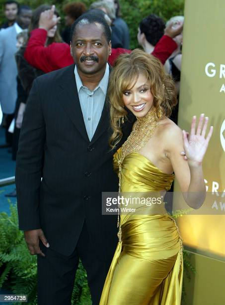 Matthew and Beyonce Knowles arrive at the 46th Annual Grammy Awards held at the Staples Center on February 8 2004 in Los Angeles California