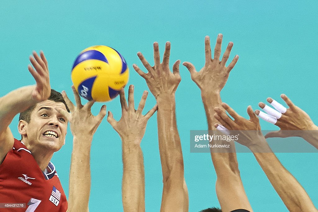 Matthew Anderson of USA attacks during the FIVB World Championships Volleyball at Cracow Arena on August 31, 2014 in Cracow, Poland.