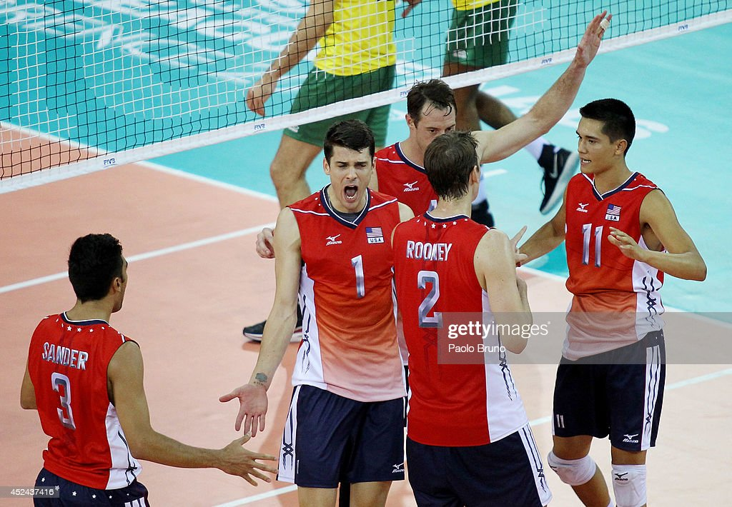 Matthew Anderson #11 with his teammates of the United States celebrate during the FIVB World League Final Six match for the first place between United States and Brazil at Mandela Forum on July 20, 2014 in Florence, Italy.