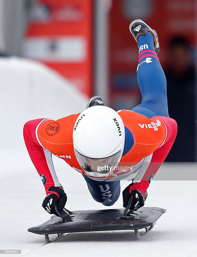Matthew Anotine of the USA finishes ninth in the FIBT Men's Skeleton World Cup heat 1, on November 17, 2012 at Utah Olympic Park in Park City, Utah.