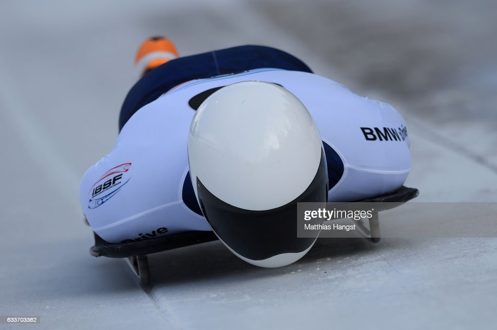 Matthew Antoine of the United States competes during the Men's Skeleton first run of the BMW IBSF World Cup at Olympiabobbahn Igls on February 3, 2017 in Innsbruck, Austria.