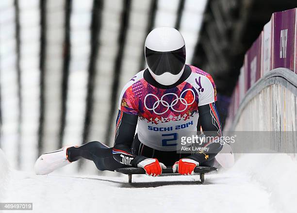 Matthew Antoine of the United States ends his run during the Men's Skeleton on Day 8 of the Sochi 2014 Winter Olympics at Sliding Center Sanki on...