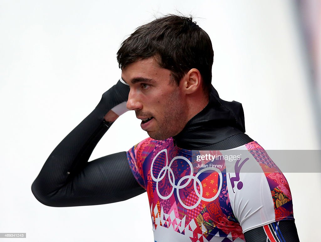 Matthew Antoine of the United States reacts after competing during the Men's Skeleton heats on Day 7 of the Sochi 2014 Winter Olympics at Sliding Center Sanki on February 14, 2014 in Sochi, Russia.