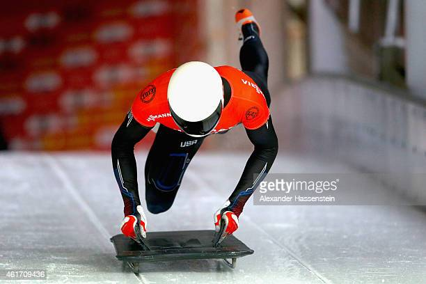 Matthew Antoine of USA competes during the Viessmann FIBT Skeleton World Cup at Deutche Post Eisarena on January 17 2015 in Koenigssee Germany