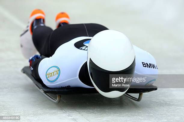 Matthew Antoine of USA competes in his third run of the men's skeleton competition during the FIBT Bob Skeleton World Cup at Bobbahn Winterberg on...